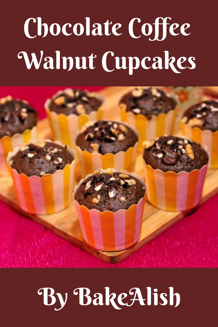 Chocolate Coffee Walnut Cupcakes are also known as chocolate walnut muffins. Learn how to make Coffee Walnut Chocolate Chip muffins which are fluffy & moist