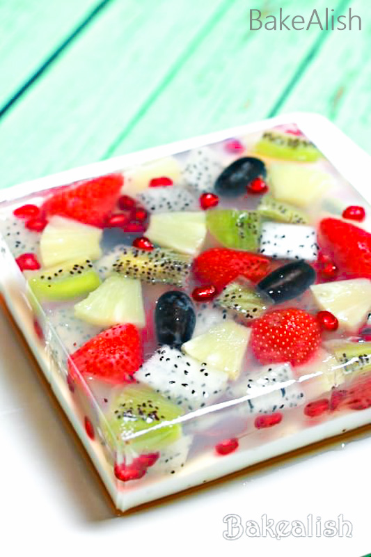 Tropical Jelly Fruit Cake dessert is an agar-agar fruit jelly cake with fresh fruit & coconut milk. Agar jelly cake recipe is not just tasty but beautiful