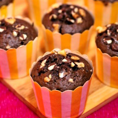 Chocolate Coffee Walnut Cupcakes