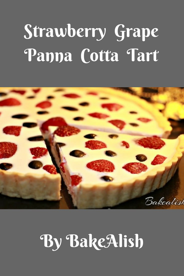 This Strawberry Grape Panna Cotta Tart is a creamy luscious dessert that most of us like. The buttery crisp tart is a great add-on when combined with fresh strawberries and grapes