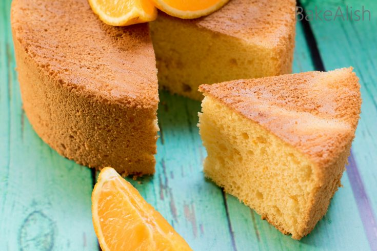 An extremely fluffy and light cake with the subtle orange flavor. This Orange Chiffon Cake is one of the best cakes you will come across. Perfect for a tea time party or simply because you love how fluffy it is