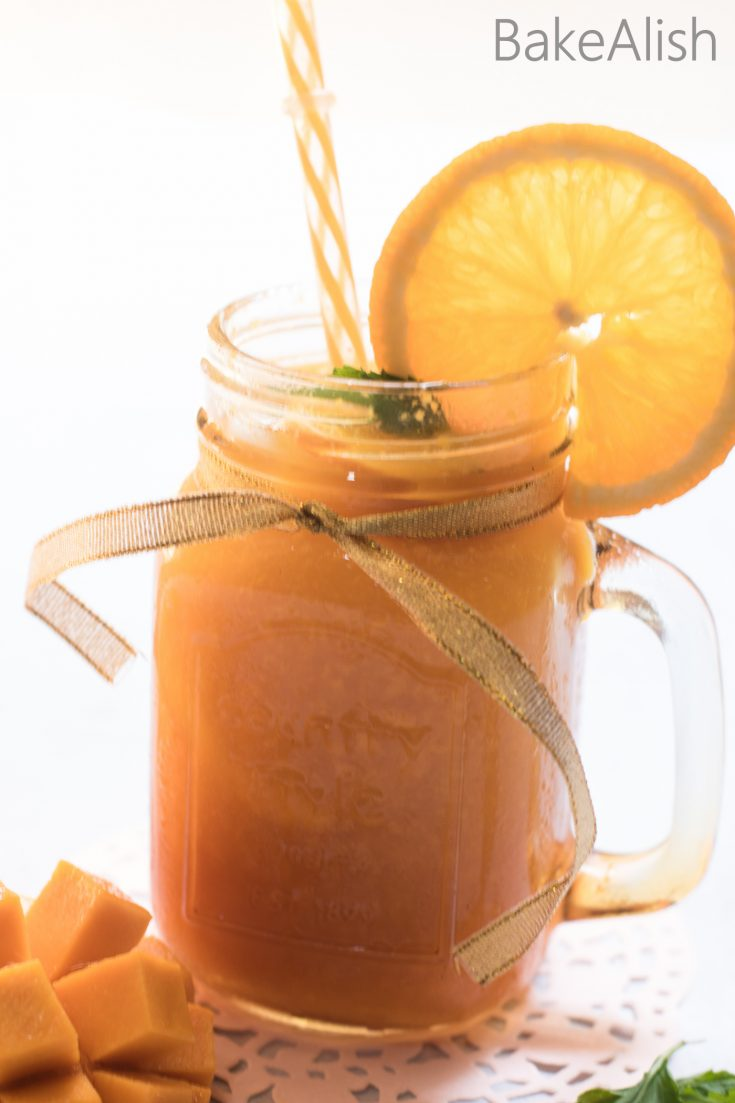 This Sparkling Mango Orange drink is so refreshing and perfect for the summers. Its got the king of all fruits, Mango along with a citrus tinge, Orange. When combined with some club soda it takes this punch to the next level. Crushed mint and lots of ice makes this the perfect summer