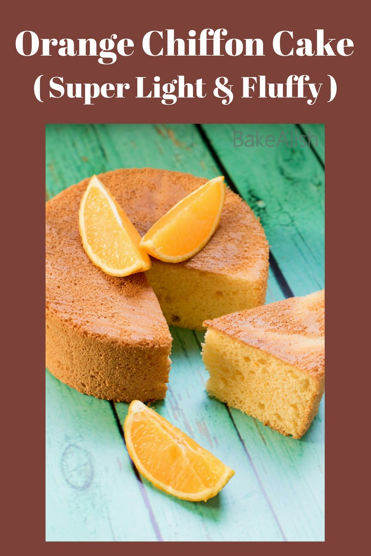 An extremely fluffy and light cake with the subtle orange flavor. This Orange Chiffon Cake is one of the best cakes you will come across. Perfect for a tea time party or simply because you love how fluffy it is.