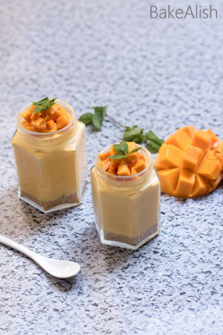 This Tropical fruit is what adds freshness and flavor to a regular cheesecake. It is rich, creamy and a dessert which everyone loves. Serving them in these mini jars make a regular cheesecake look fancy and easy to move around. These jars have a crisp crust at the base with a smooth and creamy cheesecake filling served with lots of chopped mango chunks.
