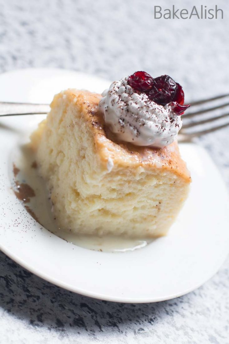 A super moist cake baked and then soaked in a milk gravy to enhance its taste and moistness. It's simply the perfect dessert cake recipe, rich in flavor with a juicy texture. This Tres Leches Cake (Milk Cake Recipe) is best served chilled topped with whipping cream and fresh fruits