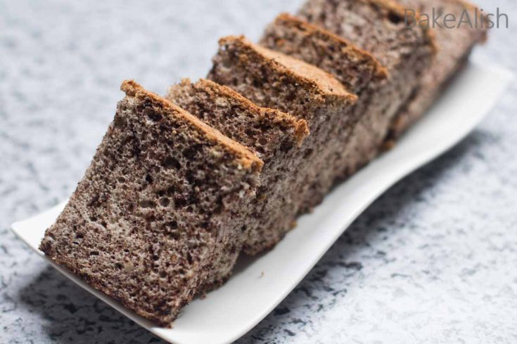 Chocolate Chip Cotton Cake is a fluffy and light cake made with crushed chocolate chips. The freshly ground chocolate chips add to the taste and a beautiful grainy look to the cake. Simply cotton like these cake slices are perfect for a tea time party and tastes as good as they look