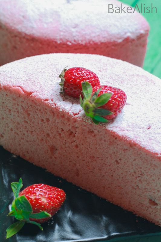 This Chiffon Cake Sponge is a perfect birthday cake recipe. It is a super fluffy and light sponge cake filled with the goodness of strawberries.