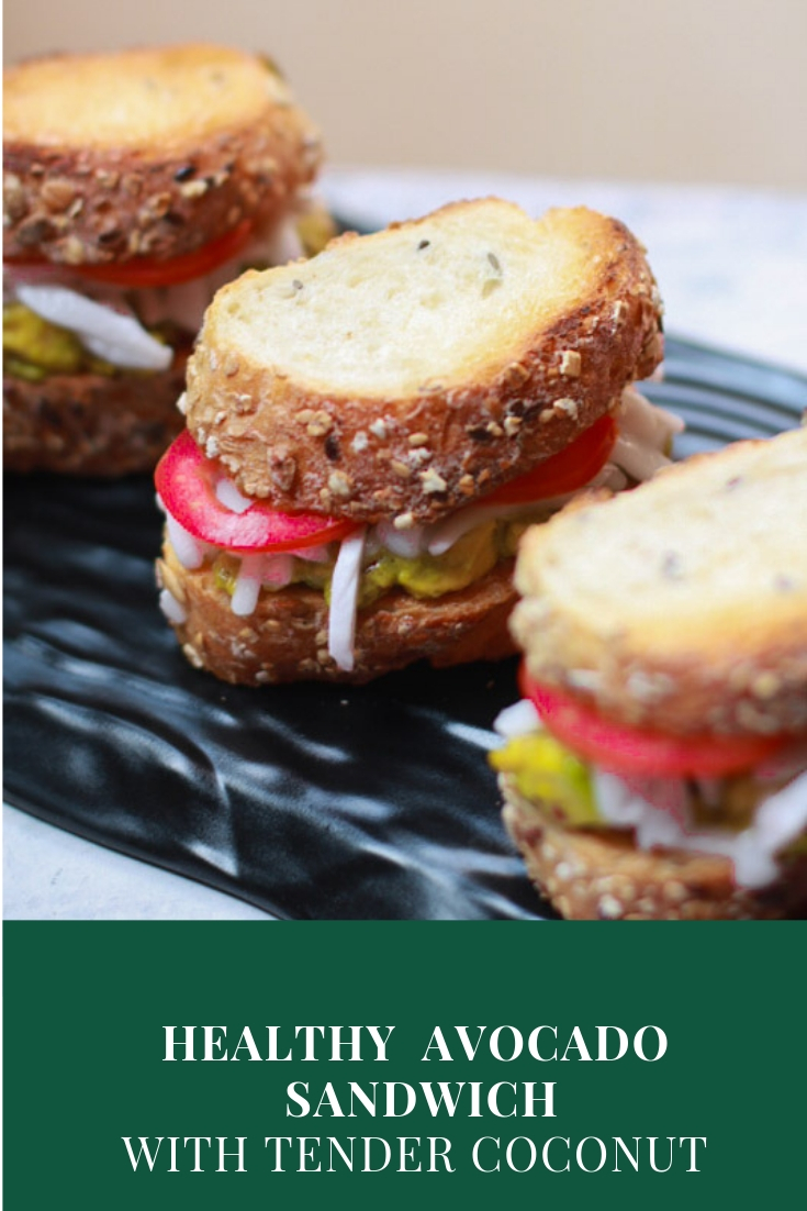 This vegetarian Healthy Avocado Sandwich is the best option for your hungry taste buds. A quick and easy sandwich recipe loaded with the goodness of tender coconut.The lemon zest and juicy tomatoes just enhance the flavor even more