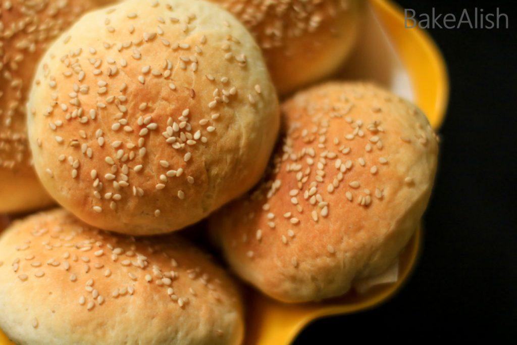 Sesame seeds sprinkled on buns
