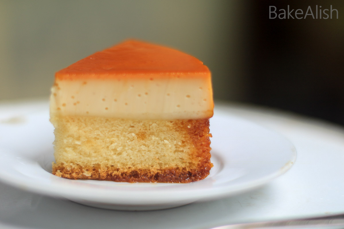 Custard Cake is an absolutely delicious dessert recipe which is also known as Caramel Custard Cake. It is a combination of caramel custard with a chiffon cake as the base
