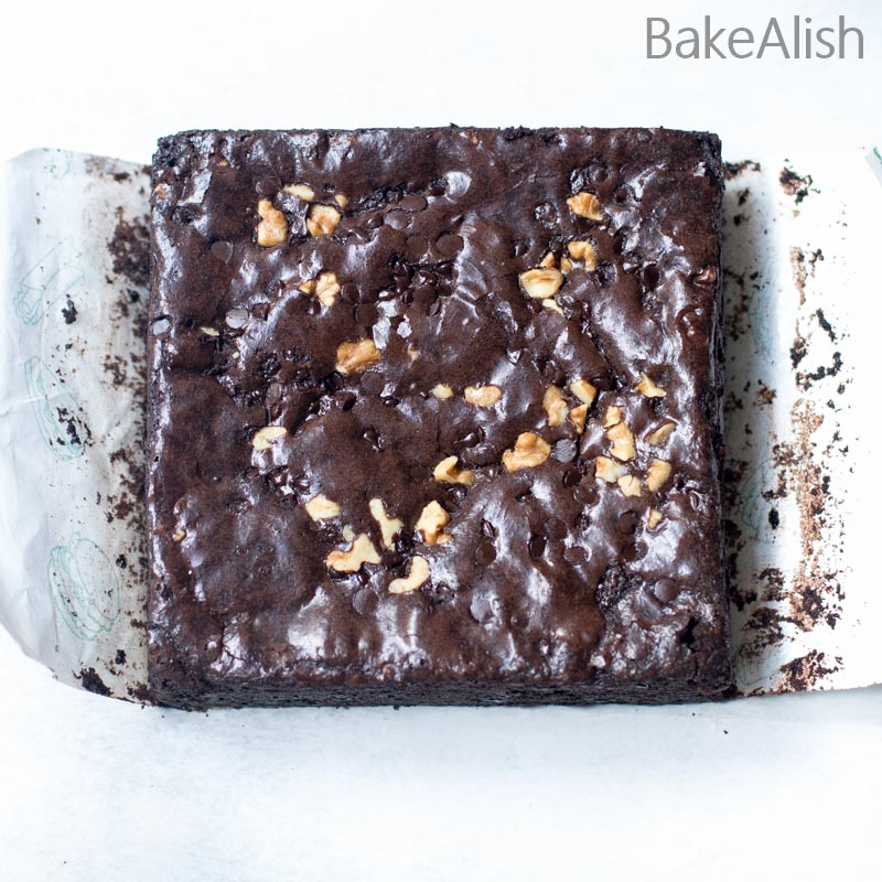 Baked Brownie with a brownie skin
