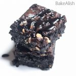Dark chocolate brownie recipe with chocolate sauce drizzle