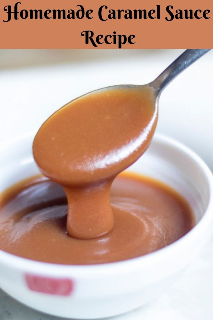 silky smooth caramel sauce picked with a spoon