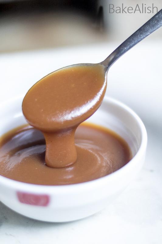 Brown color creamy caramel sauce