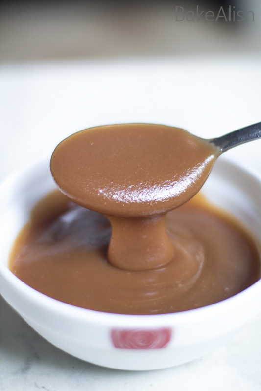 The best caramel sauce on a spoon with brown