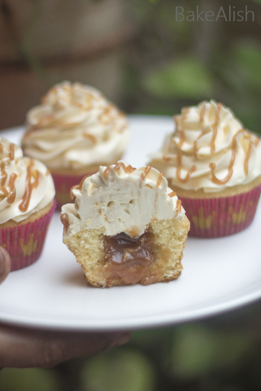 Salted Caramel Cupcakes with condensed milk buttercream frosting recipe