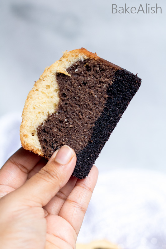 ombre effect sponge baked in three colors white, brown and black
