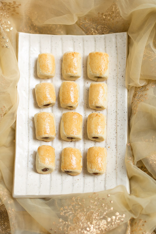 christmas daterolls on a white tray at a christmas sweets workshop - Christmas Sweets Online Workshop 1