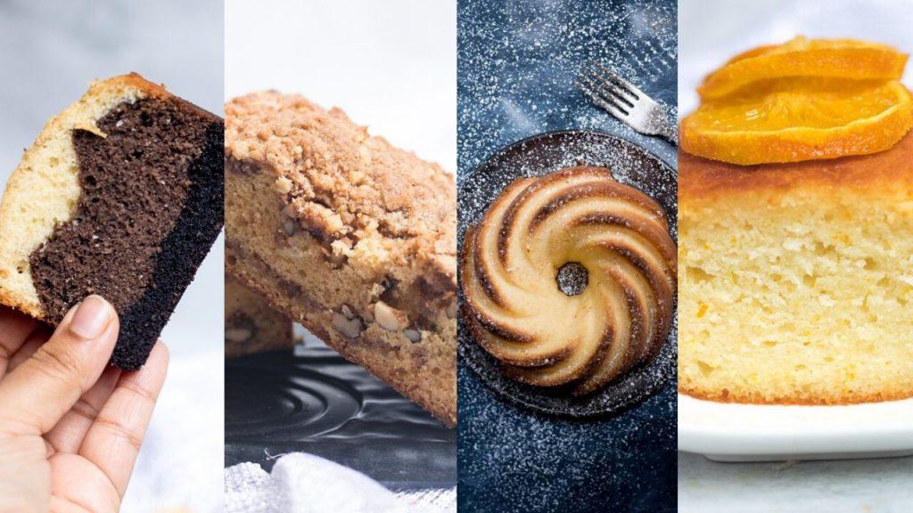 ombre cake, walnut cake, cream cheese cake and orange cake in the image