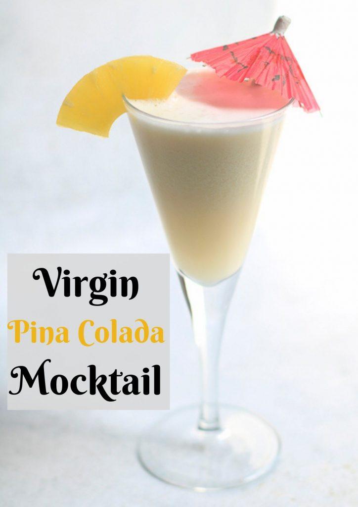 virgin pinacolada recipe with a umbrella and pineapple piece