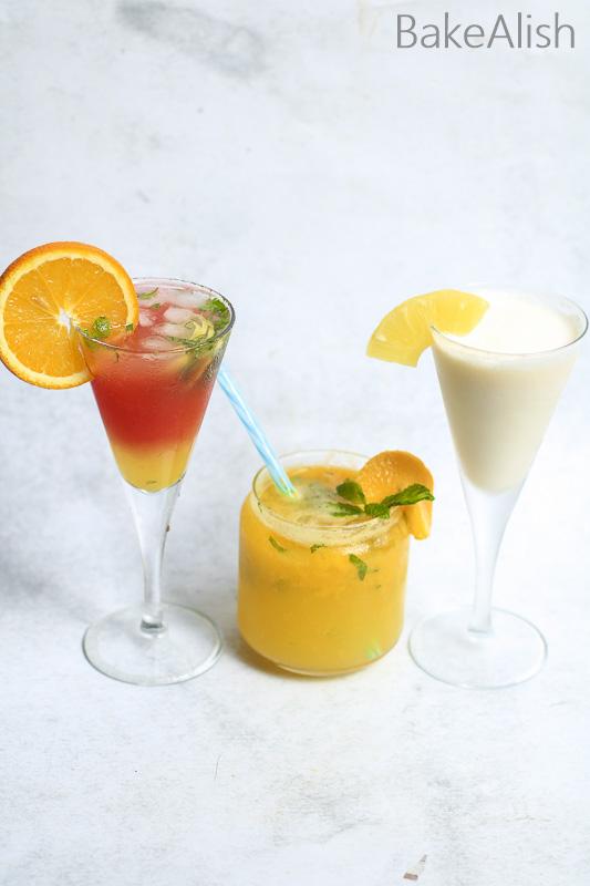 three refreshing mocktail recipes - pina colada, virgin mango mojito and orange sunset