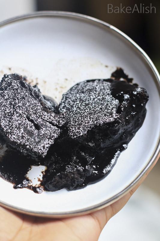 a plate with chocolate lava cake - Chocolate Lava Fudge Cake