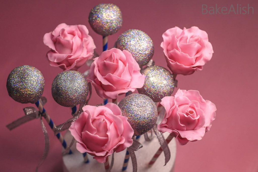cake pops with pink fondant