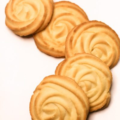 five homemade Butter Cookies in a line