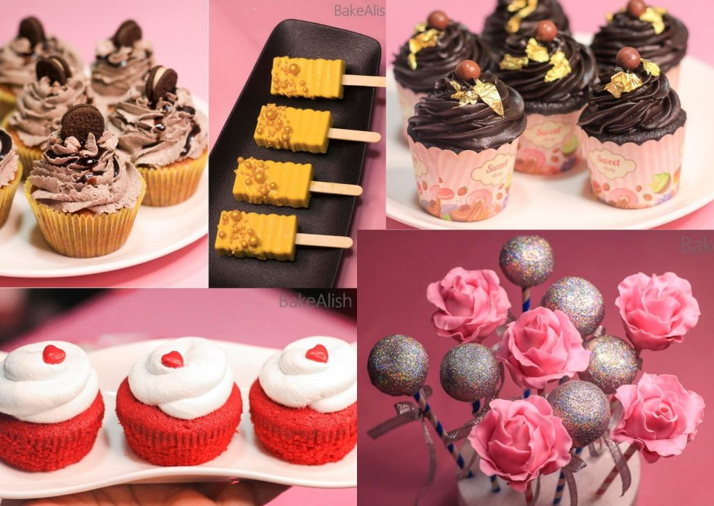 collage of cupcakes, cakesicles and cake pops